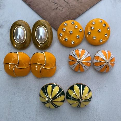 Gelbe Glasur 925 silberne Nadelohrringe NHOM318910's discount tags