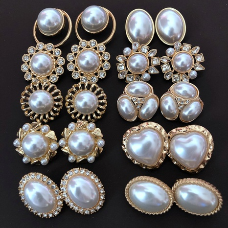 New white pearl silver needle stud earrings  NHOM318912's discount tags