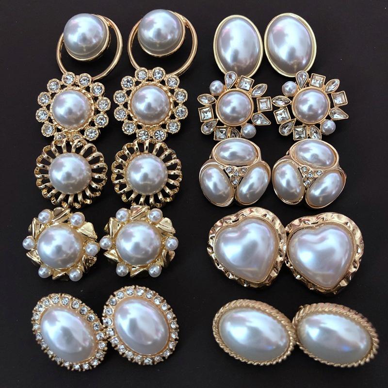 New white pearl silver needle stud earrings  NHOM318912