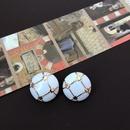 Elegant white glaze silver needle earrings NHOM318913