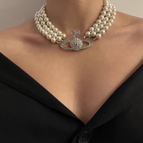 collier planète rétro en diamant à trois couches de perles NHYQ318952's discount tags
