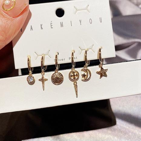 Korean Metallic Star Moon Small Earrings 6 Piece Set NHCG318964's discount tags