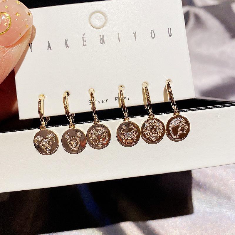 fashionable zircon microinlaid constellation round earrings 6piece set NHCG318967