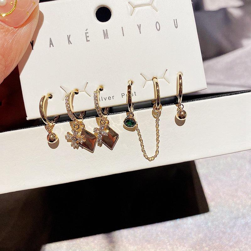 fashion microinlaid zircon cross earrings 6piece set NHCG318969