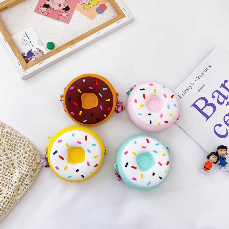 Korean childrens cute silicone donut shoulder bag NHAV325755