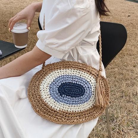 Simple circular woven shoulder bag wholesale NHTG325756's discount tags