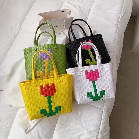 Sac portable à fleurs tissées à la mode NHTG325767's discount tags