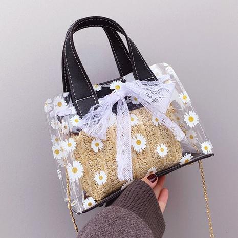 Sac messager à bandoulière à fleurs transparentes tissées à la mode NHTG325801's discount tags
