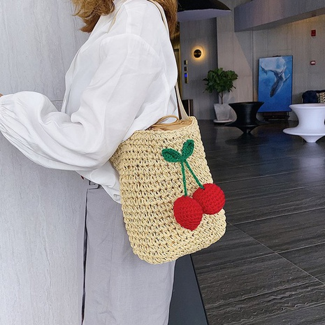 new fashion straw woven bucket cherry bag NHTG325886's discount tags