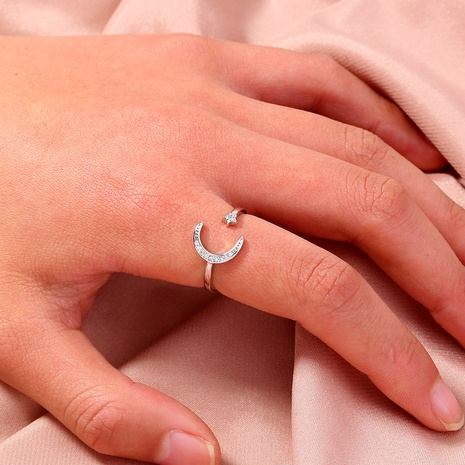 fashion zircon moon star opening ring NHAN325906's discount tags