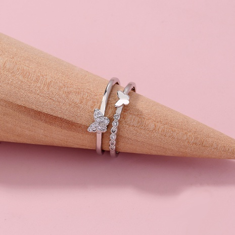 simple zircon butterfly opening double ring NHAN325907's discount tags