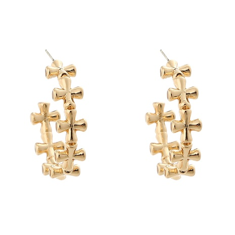 Korean retro cross C-shaped earrings  NHAN325909's discount tags
