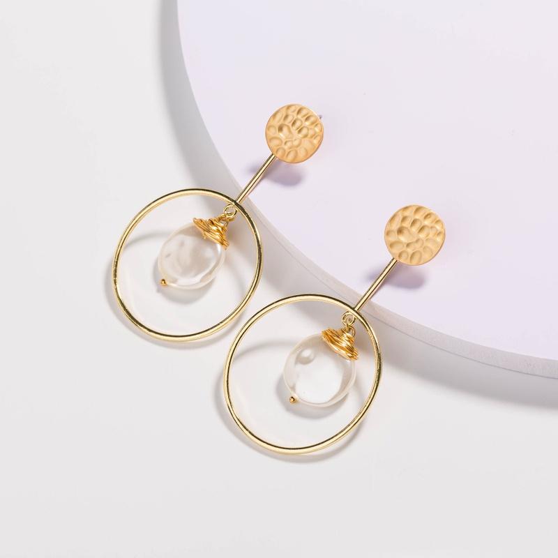 fashion white flat pearl metal earrings NHAN325910