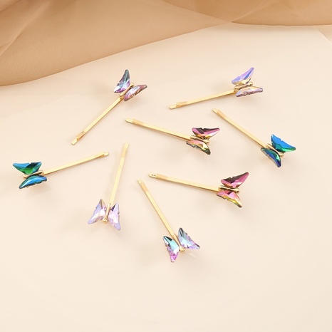 fashion multicolor glass butterfly hairpin NHBW325923's discount tags