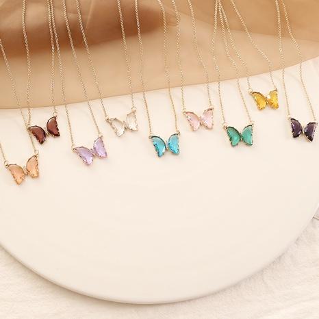 collar de mariposa de cristal multicolor NHBW325924's discount tags
