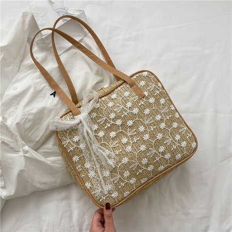fashion lace leisure large-capacity straw woven bag NHXC325964's discount tags