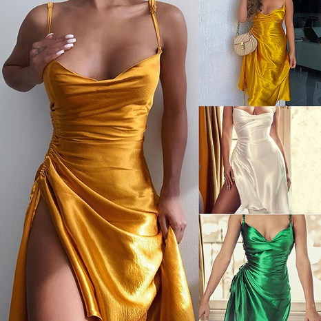 Summer women's temperament sexy halter strap solid color dress NHWA327549's discount tags