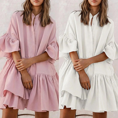 Women's summer fashion chiffon loose solid color high-end one-piece skirt NHWA327548's discount tags