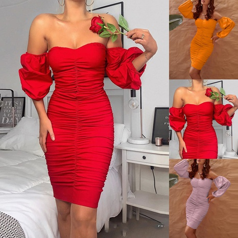 Ladies summer fashion strapless sexy solid color pleated dress NHWA327569's discount tags