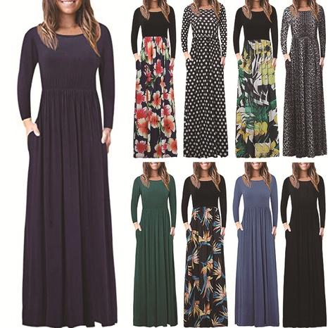 Vestido largo de cintura alta con costura suelta y estampado en color sólido de moda para mujer NHWA327556's discount tags
