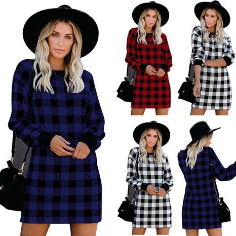 Vestido de punto a cuadros con cuello redondo y manga larga a la moda para mujer NHWA327553's discount tags