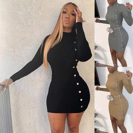 Vestido hecho punto cadera de manga larga con bolso de cintura de color sólido para mujer NHWA327581's discount tags