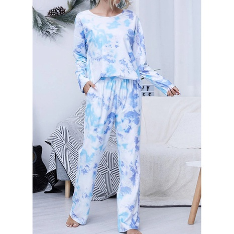 Traje de mujer de manga larga con cuello redondo informal estampado tie-dye NHWA327567's discount tags