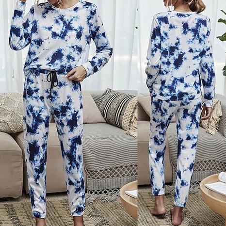 Ensemble de maison décontracté imprimé tie-dye à manches longues et col rond pour femme automne et hiver NHWA327563's discount tags