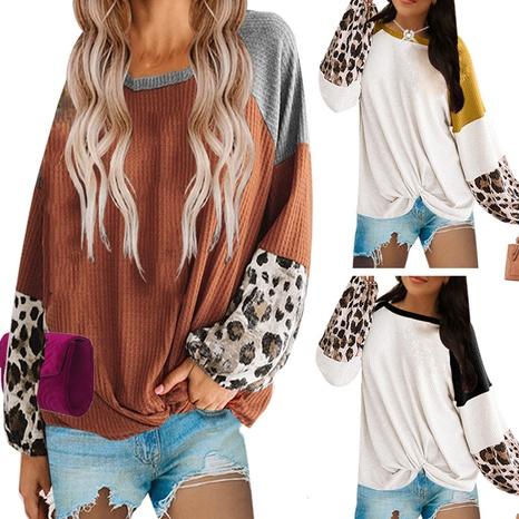 Top de manga larga con cuello redondo tejido con costuras para mujer NHWA327561's discount tags