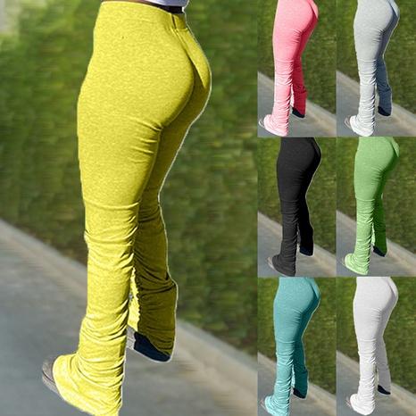 Pantalon de jogging micro-évasé à fente plissée couleur unie NHWA327578's discount tags
