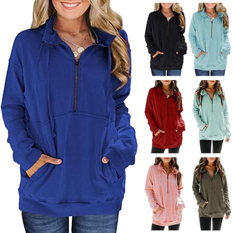 Suéter casual de color sólido de manga larga con bolsillo canguro y media cremallera para mujer NHWA327575's discount tags