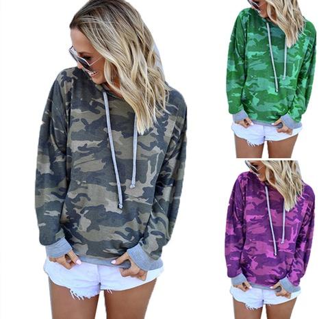 Pull à capuche à manches longues et coutures camouflage mode femme NHWA327570's discount tags