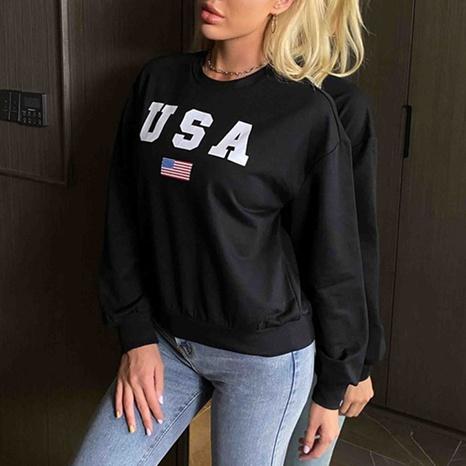 suéter de cuello redondo con letra impresa de nueva moda NHJG326087's discount tags