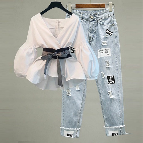 2021 summer new waist waist casual two-piece fashion suit NHJC327593's discount tags