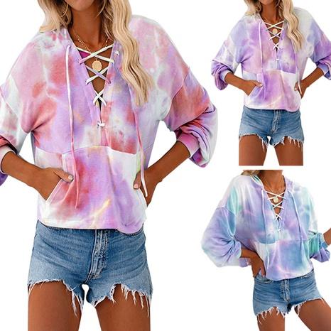 Pull à capuche et manches longues imprimé tie-dye avec cordon de serrage NHWA327591's discount tags