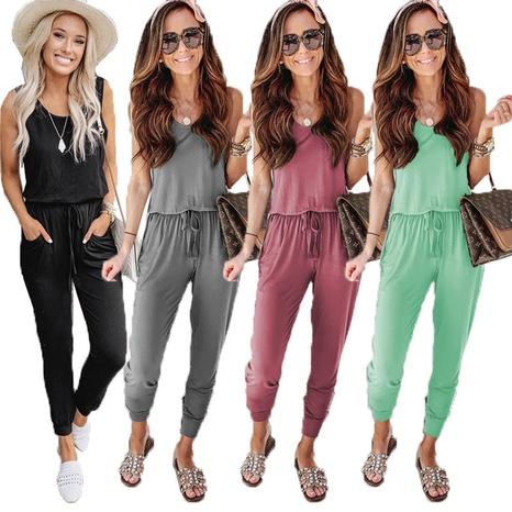 Combinaison de couleur unie sexy à lacets pour femmes NHWA327587's discount tags