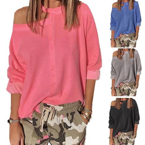 T-shirt à manches chauve-souris de couleur unie sans bretelles de mode d'été NHWA327613's discount tags