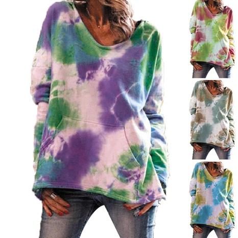 Blusa suelta de manga larga estampada con cuello redondo y capucha con efecto tie-dye NHWA327607's discount tags