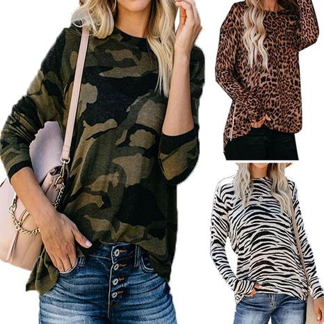 Nuevo top de cuello redondo de manga larga con camuflaje leopardo a rayas NHWA327600's discount tags