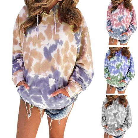 Pull à manches longues décontracté à capuche imprimé tie-dye pour femme NHWA327599's discount tags