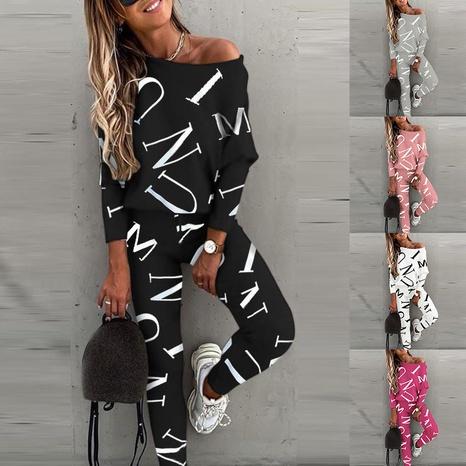 moda simple impresión de letras camisa casual pantalones traje NHJC326036's discount tags