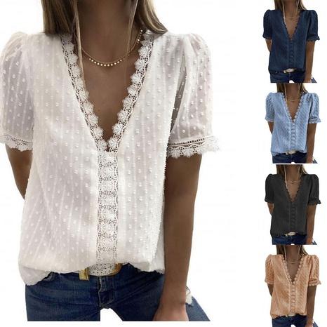 camisa casual de encaje jacquard de moda NHJC326035's discount tags