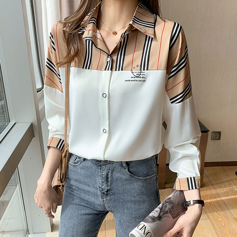 Loose striped stitching bat sleeve shirt NHUO326033's discount tags