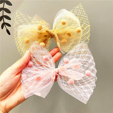 Korea children's net yarn bow hairpin NHCQ326079's discount tags