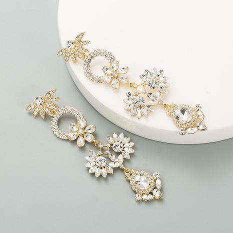 fashion rhinestones flower earrings wholesale NHLN326097's discount tags