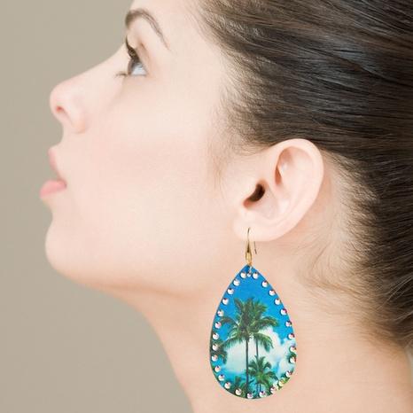 aretes de piel bohemia con estampado de palmeras y diamantes de imitación NHLN326105's discount tags