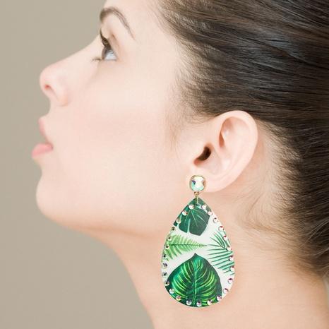 aretes de piel bohemia con estampado de palmeras y diamantes de imitación NHLN326111's discount tags