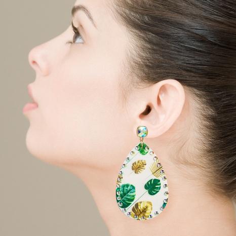 Pendientes largos de diamantes con estampado de cuero de moda NHLN326113's discount tags