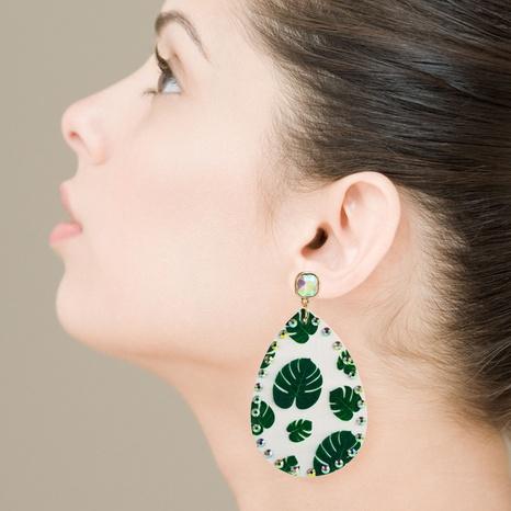 fashion print leaf long drop-shaped rhinestone leather earrings NHLN326117's discount tags