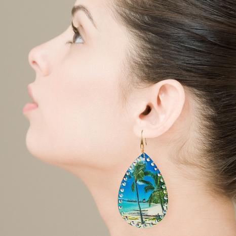 Pendientes en forma de gota con estampado de árbol de coco de cuero de moda NHLN326118's discount tags